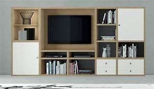 Bücherwand Mit Tv : wohnwand b cherwand mediawand eiche lack wei ~ Michelbontemps.com Haus und Dekorationen