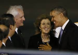 President Obama greeted by Caroline Kennedy as he lands in ...