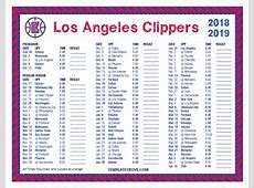 Printable 20182019 Los Angeles Clippers Schedule