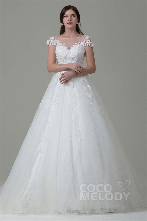 Cocomelody A Line Illusion Tulle Lace Cap Sleeve Open