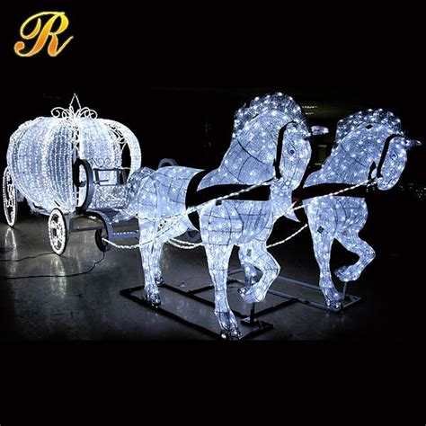 led cinderella pumpkin horse carriage  christmas