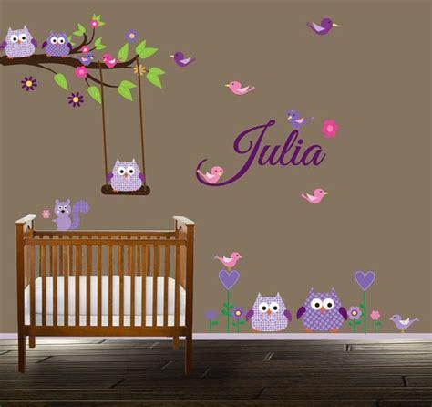 Girls Custom Name Branch Nursery Decal Owl Wall Decal