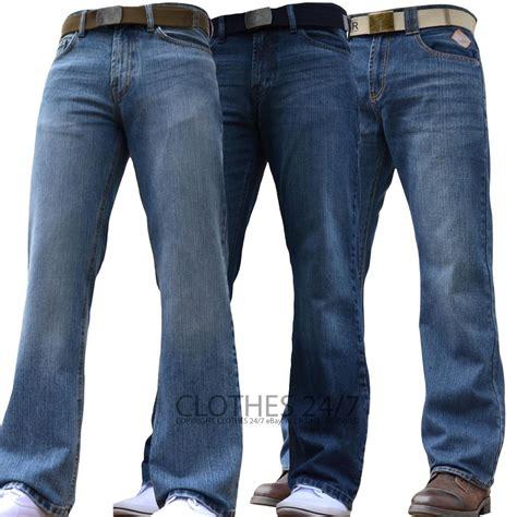 size leg l bnwt new mens wide leg bootcut flared blue heavy denim