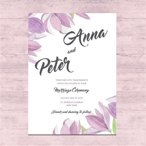 floral wedding card design vector