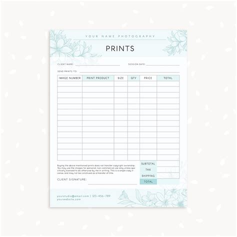 floral photography prints order form strawberry kit