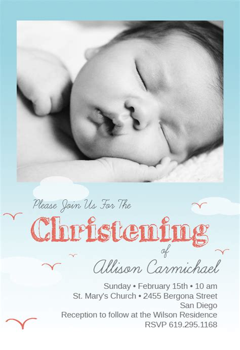 smiles baptism christening invitation template