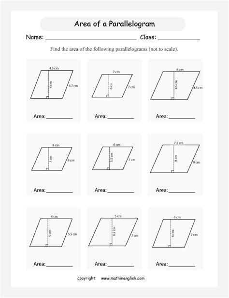printable area of parallelogram worksheet stuff