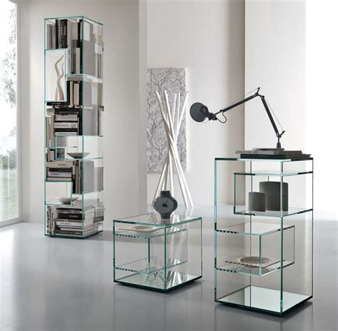Glass Bookcase Shelves by Tonelli Liber Glass Bookcase Modern Bookcases Tonelli