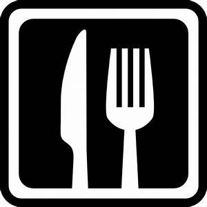Knife and fork in a square for interface symbol for ...