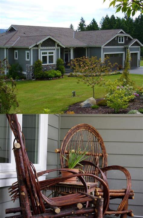 prefabricated custom home  british columbia craftsman style country home wicker patio