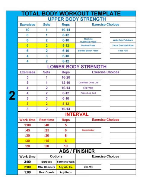 Workout Template 4 Practical Templates To Simplify Workout Design