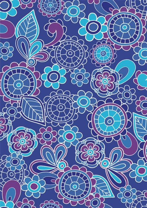 funky blue flowers scrapbook paper