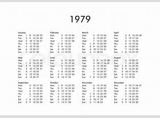 Vintage calendar of year 1979 with all months Stock
