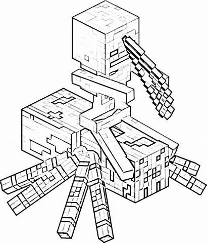 Minecraft Coloring Spider Skeleton Riding Games Pages