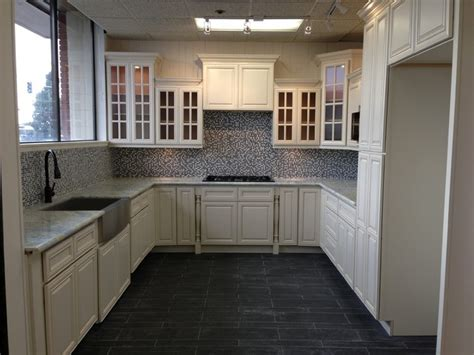 model antique white glazed maple cabinets traditional