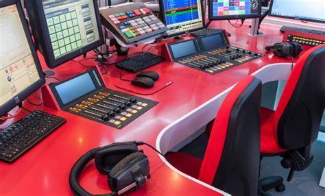 Desking at Heart Radio Station Studio in Hot Red Corian