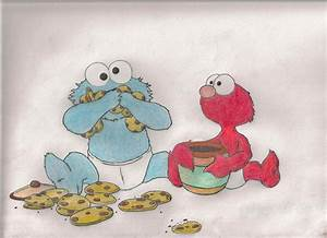 Baby Cookie Monster And Elmo by IceySocks on DeviantArt