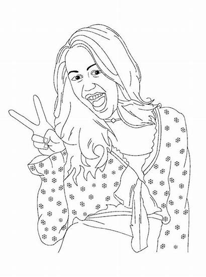 Coloring Hannah Montana Peace Sign Miley Pages