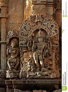 Ancient Stone Art On Temple Wall Of Karnataka, India Stock ...
