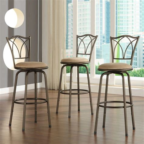 At Home Bar Stools by Home Decorators Collection Adjustable Height Brown Swivel
