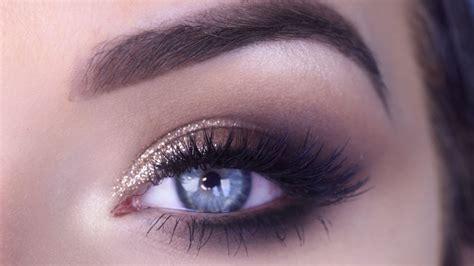 Easy Prom Eye Makeup Tutorial Bronze Glitter Smokey