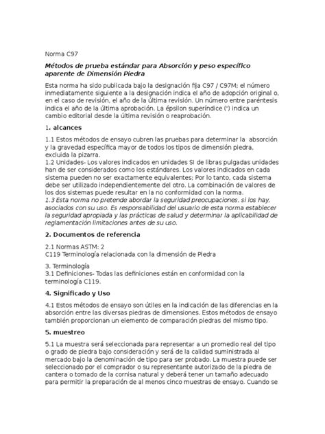 Norma astm C97 | Densidad | Agua