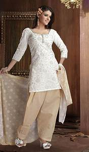 White Cotton Churidar Kameez With New Design Yusrablogcom ...
