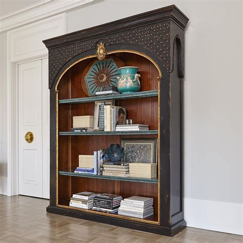 Mahogany Ebony,gold Accents Large Carved Bookcase,3 Glass
