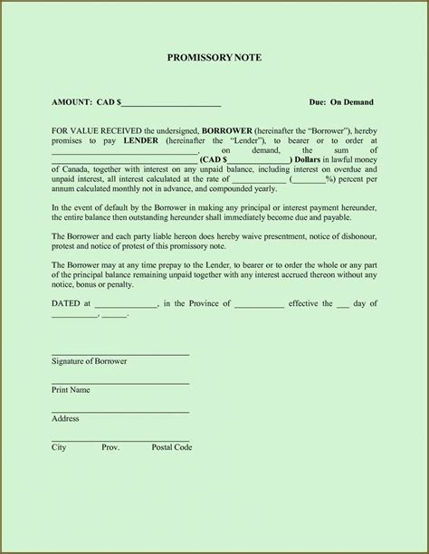 Promissory Note Template Free Promissory Note Template Word Pdf