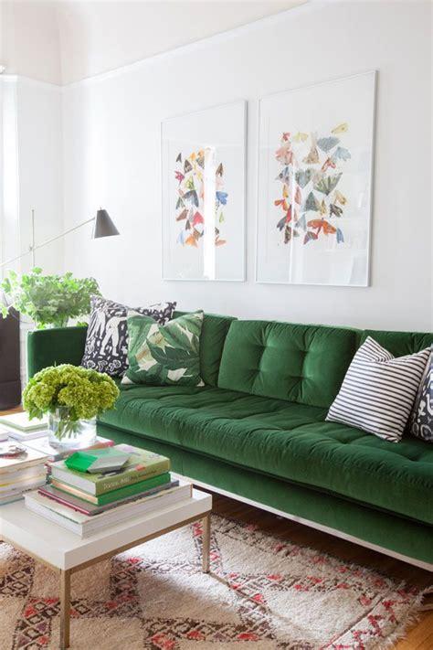 green velvet settee living room makeover oh happy day green velvet sofa