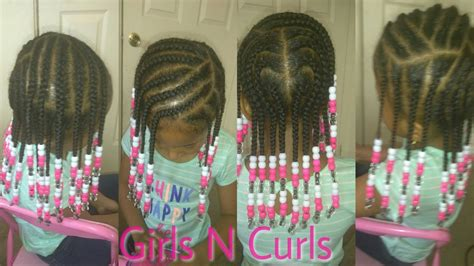 cute hairstyle for little girls braids and beads girls n