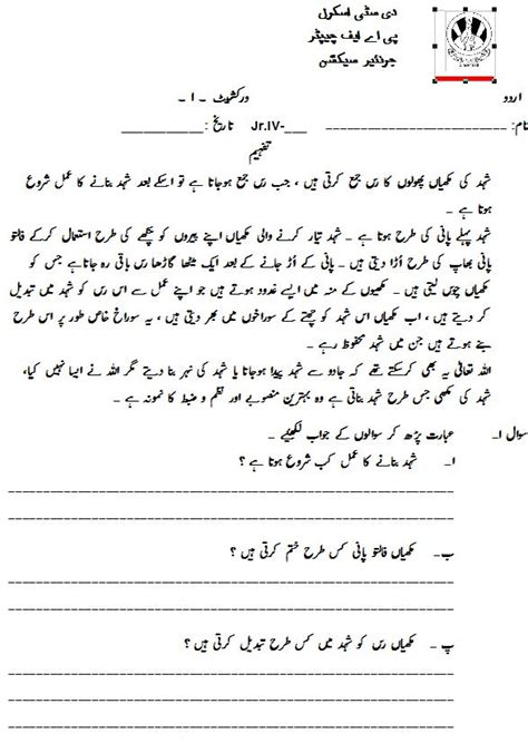 class 4 home work worksheets paf juniors