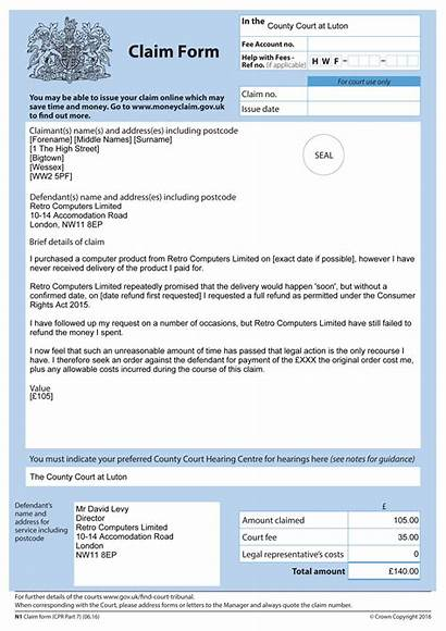 Form Example Claims Claim Court Action Against