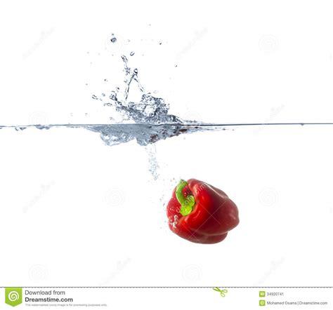 cuisine cherry paprika sinking in water stock image image 34920741
