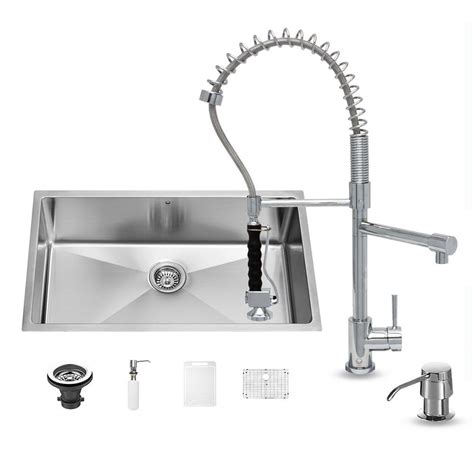 all in one kitchen sink vigo all in one undermount stainless steel 32 in 0 hole