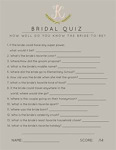 bridal shower games bridal shower quiz how well do you for wedding shower trivia game