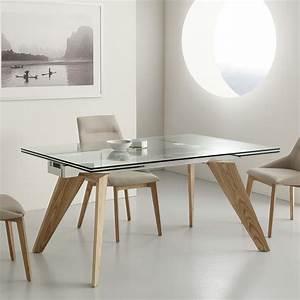 Table Extensible Michigan En Verre Inox Et Bois Massif