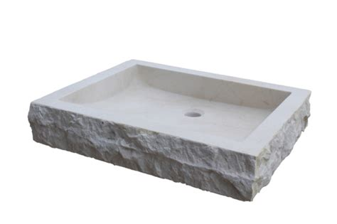 Chiseled Rectangular Natural Stone Vessel Sink