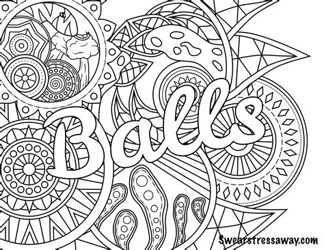 balls swear word coloring page adult coloring page