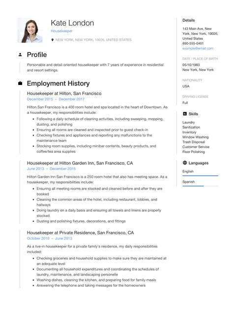 Housekeeping Resume Template by Resume Guide Housekpeer 12 Resume Sles Pdf 2019