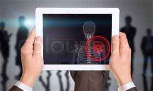Person holding tablet with x-ray of mans shoulder | Stock ...