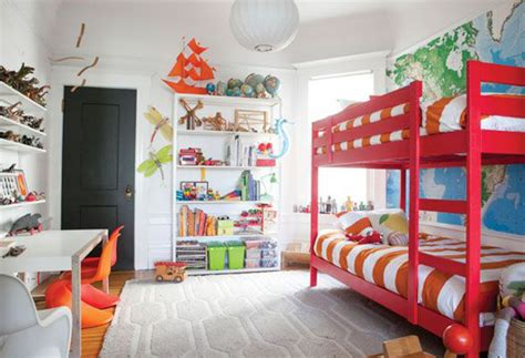 Basically, the top bunk it connected to the wall while the bottom is a separate piece. 15 Colorful Kids Bunk Bed Ideas   House Design And Decor