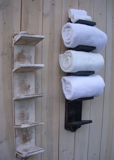 handmade towel rack bath decor wood shabby cottage
