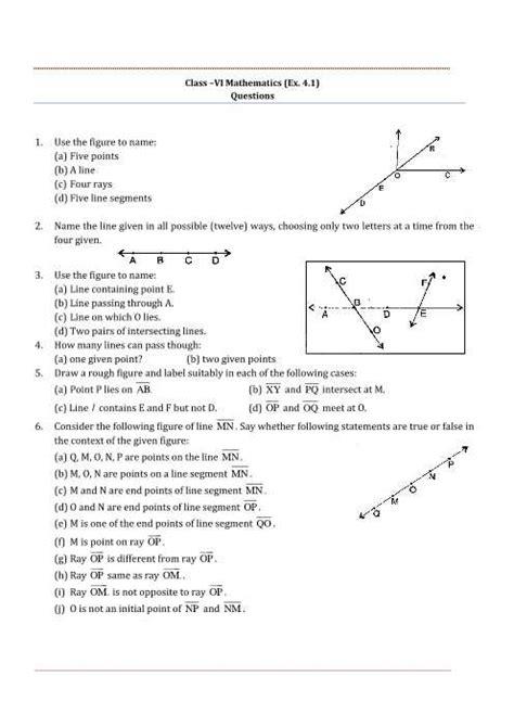 basic idea worksheets basic geometry definitions worksheet answers or ncert