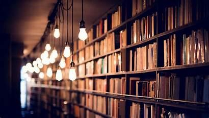 Library Books Shelves Lighting Laptop Tablet