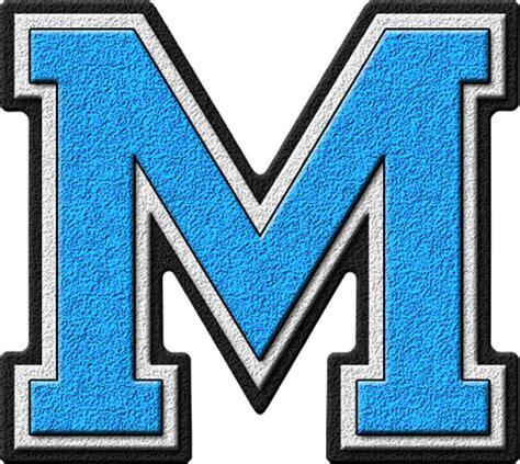 light blue m m s presentation alphabets light blue varsity letter m