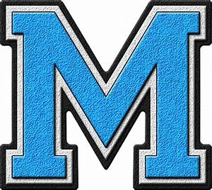 presentation alphabets light blue varsity letter m With varsity letter m