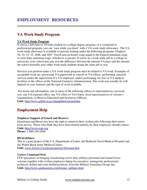 Va Work Study Resume by From Combat To College Checklist