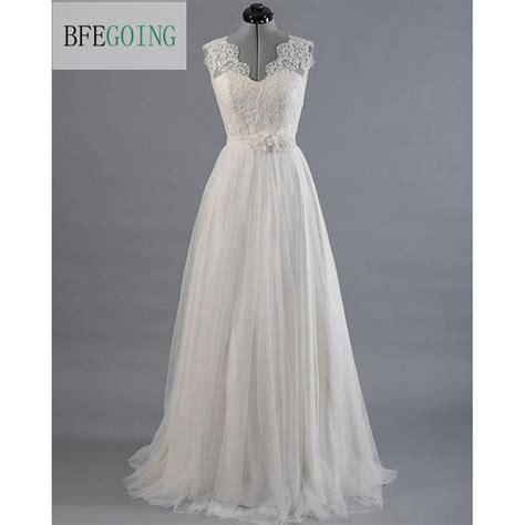 Ivory Lace Tullle V Neck Wedding Dress Sweepbrush Train
