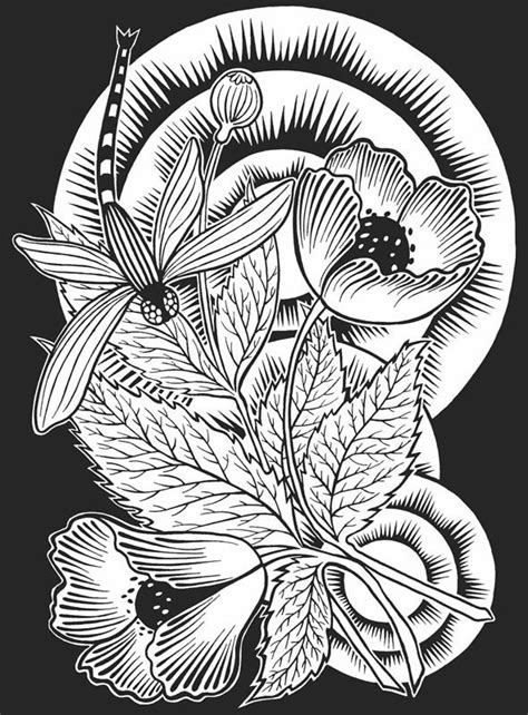 213 best images about Coloring/Embroidery Pages - Flowers on Pinterest | Flower, Coloring and
